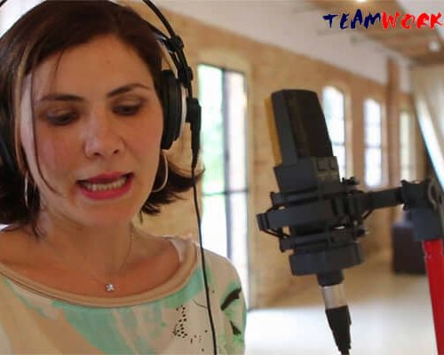 Corporate Song creation: woman singing